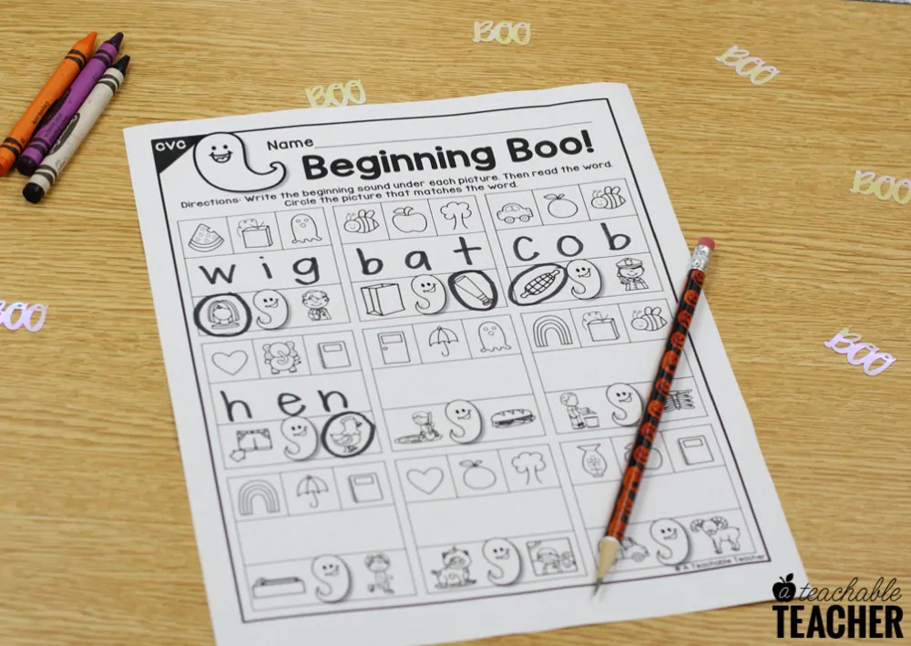 CVC worksheets for students