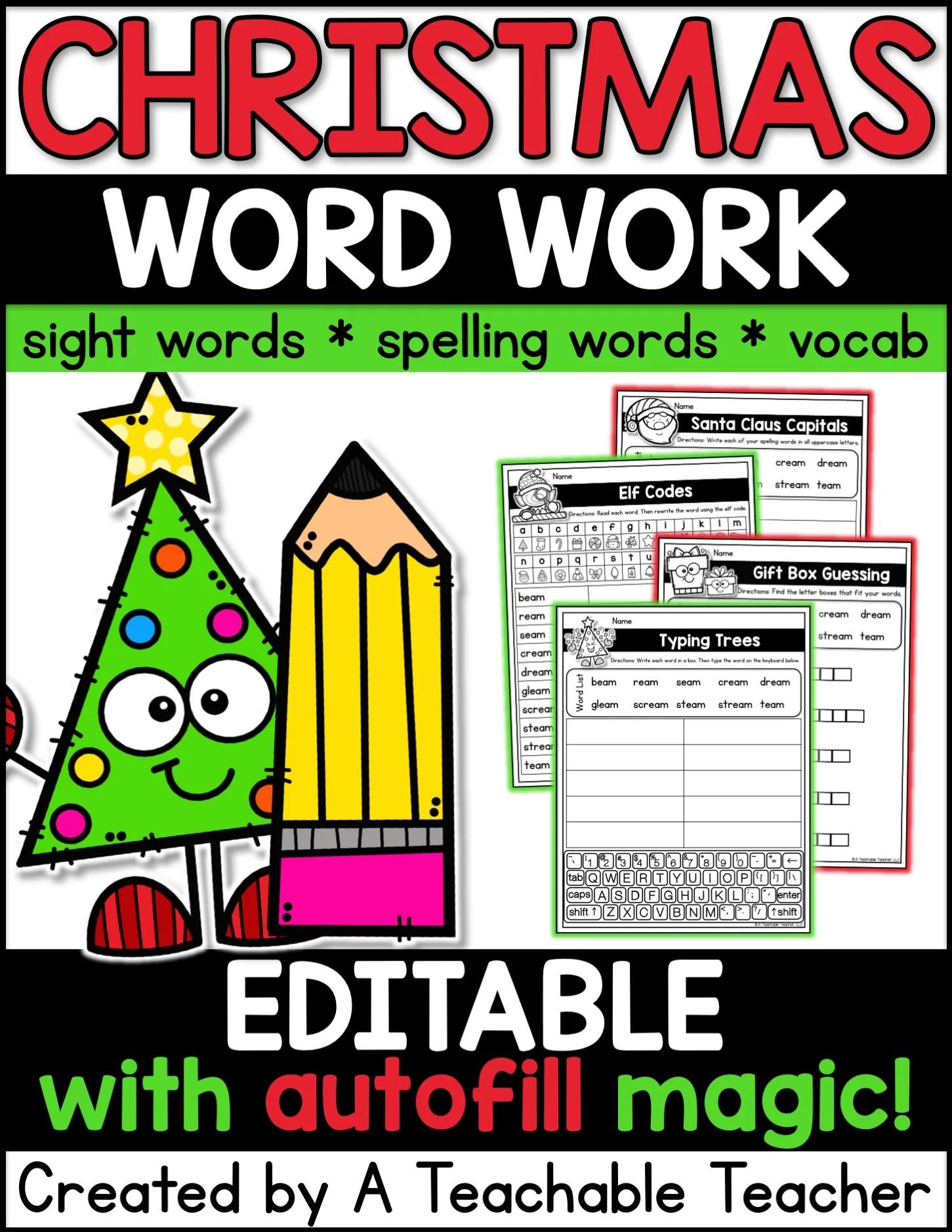 Editable Christmas Word Work