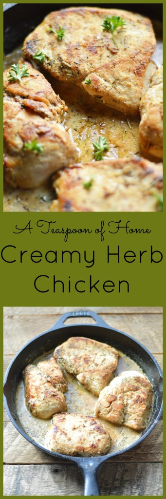 Creamy Herb Chicken by A Teaspoon of Home