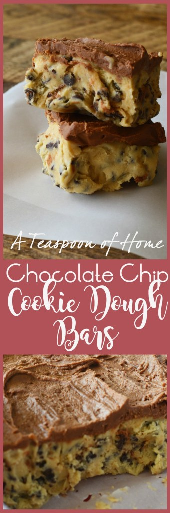 Chocolate Chip Cookie Dough Bars by A Teaspoon of Home