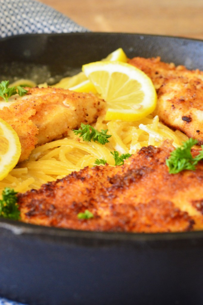 Crispy Parmesan Chicken with Creamy Lemon Pasta by A Teaspoon of Home