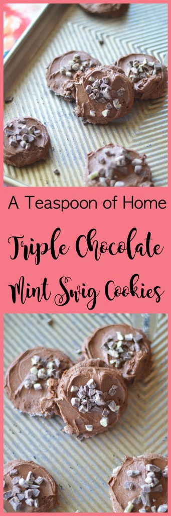 Triple Chocolate Mint Swig Cookies by A Teaspoon of Home