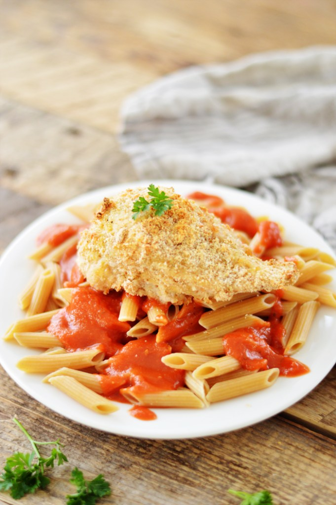 Crispy Garlic Parmesan Baked Chicken by A Teaspoon of Home