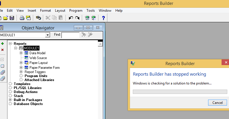 Oracle Reports Builder stopped working in Windows