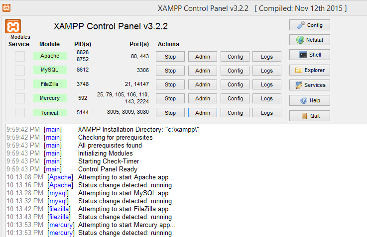 XAMPP Control Panel – Manage/Configure Services