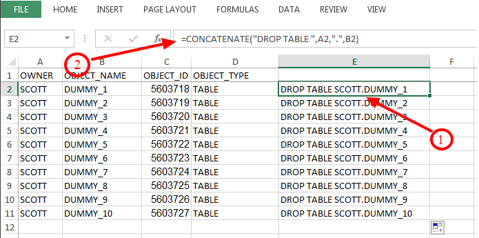 How to use Excel Spreadsheet to generate SQL statements