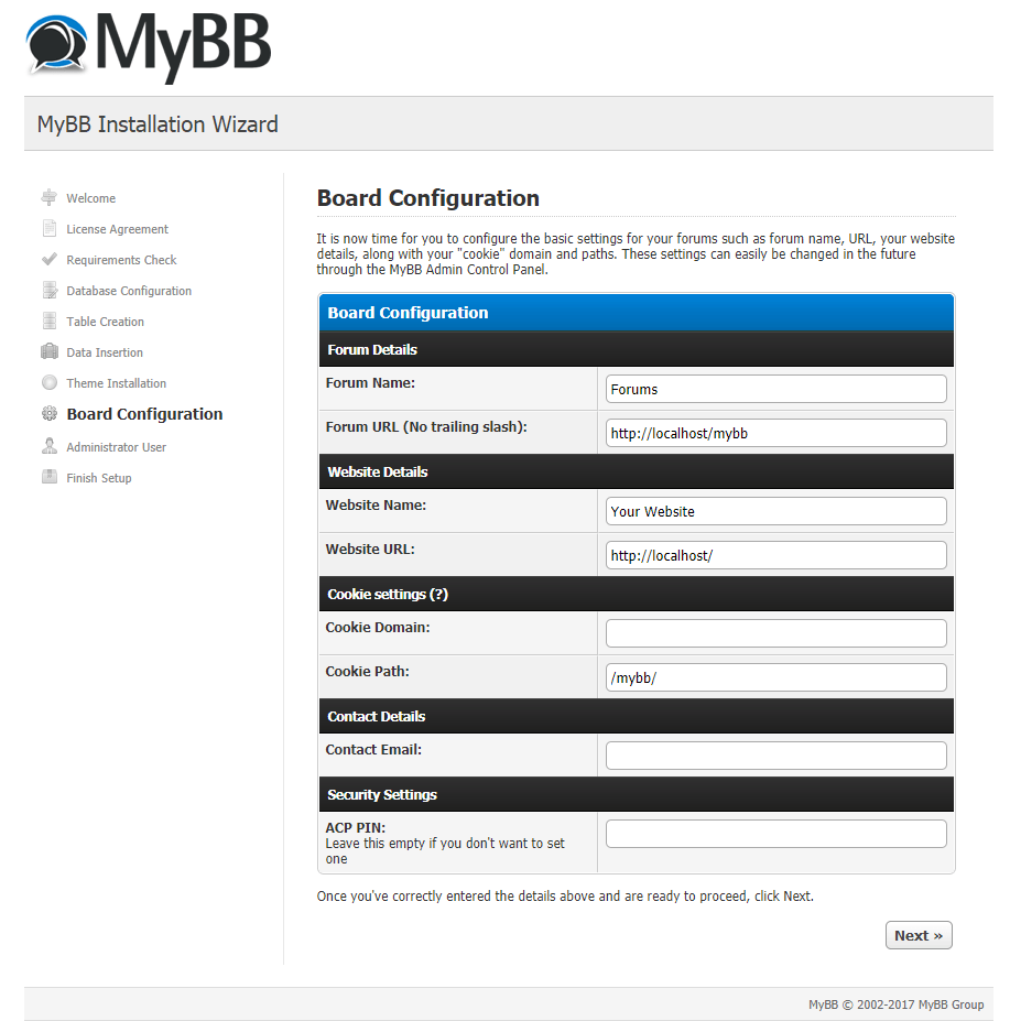mybb board configuration