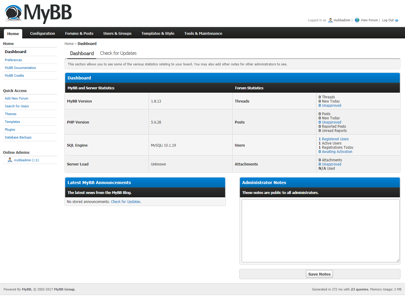 mybb dashboard
