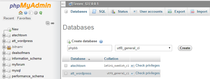 create phpbb mysql database