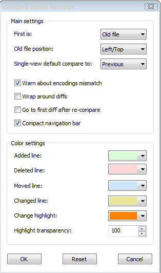 notepad compare plugin setting