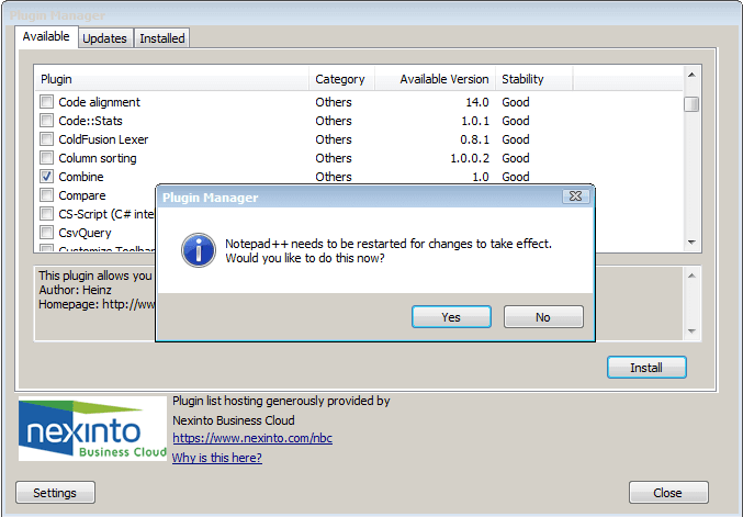 restart notepadd++ post plugin installation