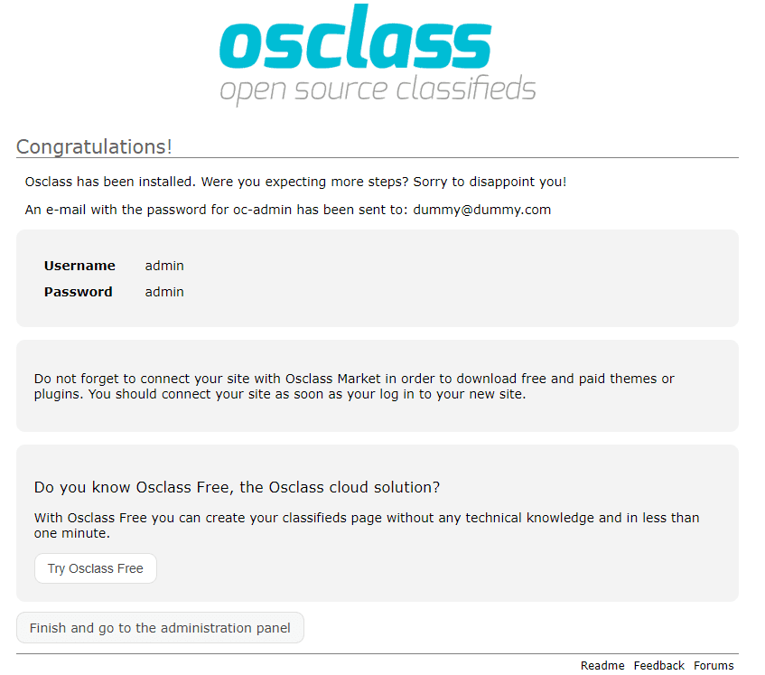 osclass installation completed