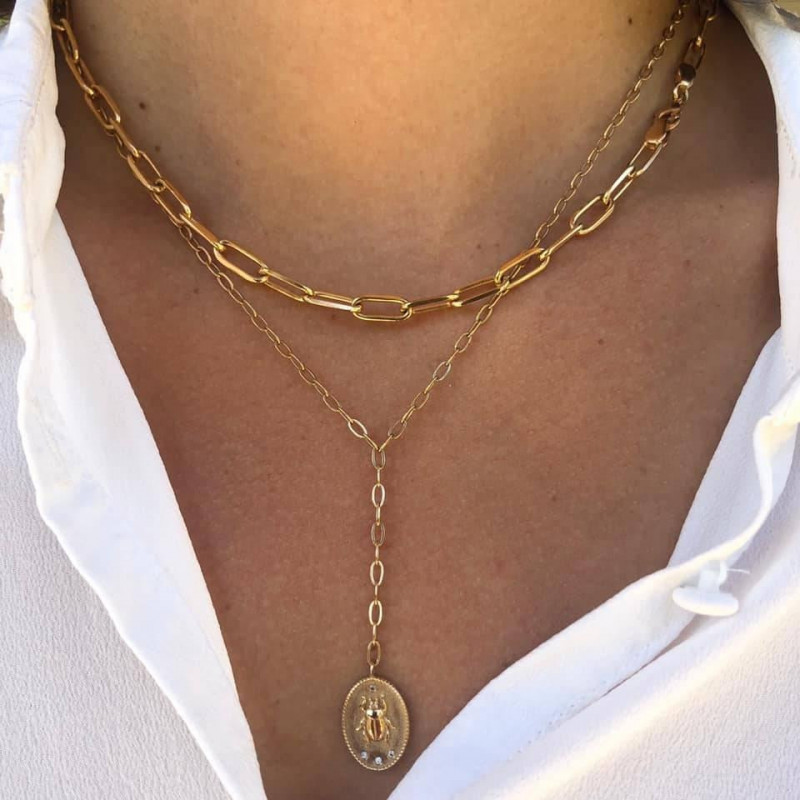 Gold-plated large thick link necklace set