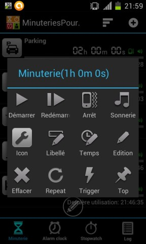 Modifier un minuteur dans Timers4Me