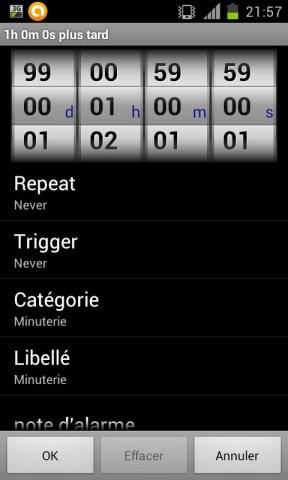 paramétrage d'une minuterie avec l'application Timers4Me