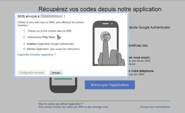 Recevoir un lien vers google authenticator par sms