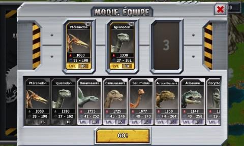 Constitution de l'équipe de dinosaures