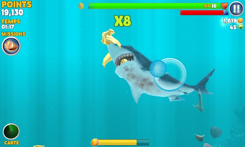 Requin blanc gagnant de l'or dans hungry shark evolution