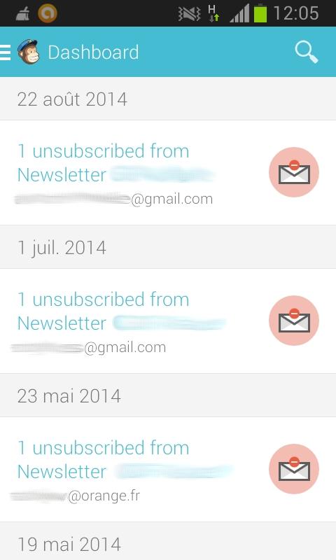 Voir les désinscriptions aux newsletters