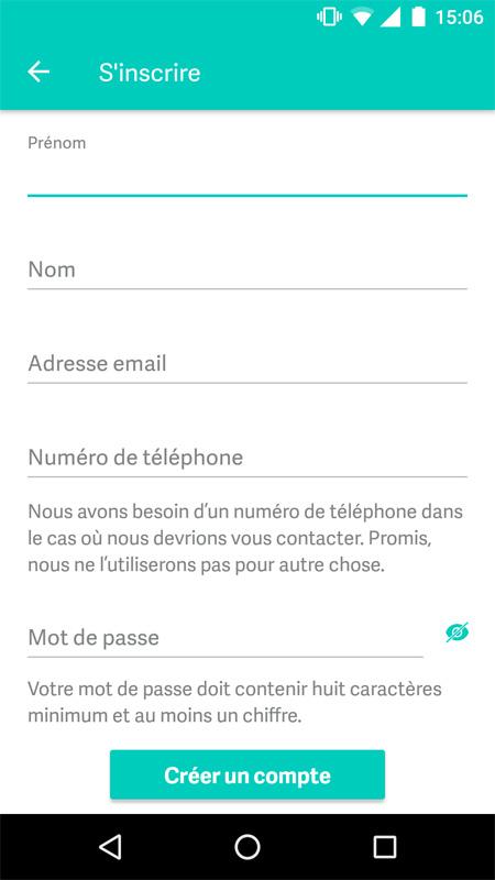 Créer un compte sur l'application Deliveroo