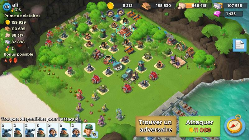 Base d'un joueur ennemi dans Boom Beach