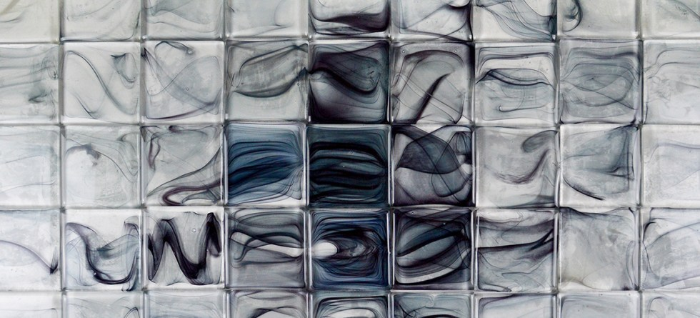Carreaux de verre-Glass tiles-Verre soufflé-Handblown glass-Vagues-Waves-Atelier George-Bannière