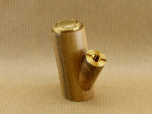 left side view of my electronic pipe worked in acacia