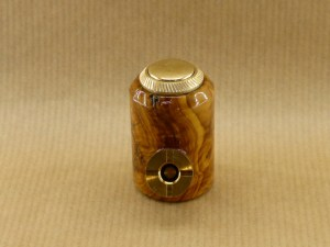 front view of my small e-pipe worked in bush of olive wood