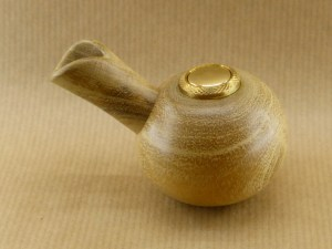 right view of my spherical e-pipe made with acacia wood