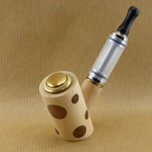 E-pipe with ash and walnut polka dots view from left side