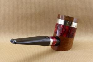 "Rear right view of a tobacco pipe from ""COLORS"" collection. Briar and red Acrylic."