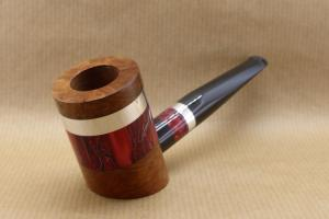 """Front left view of a tobacco pipe from """"COLORS"""" collection. Briar and red Acrylic."""