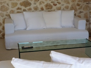 housse de canapé en lin blanc
