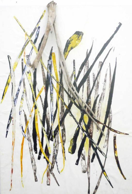 Dickicht Collage, Holz auf Leinwand, 50x70
