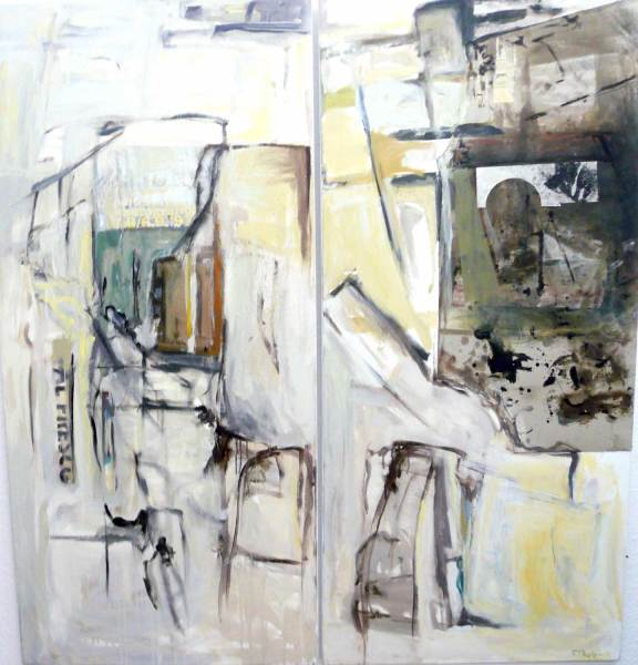 Venedig Collage, Acryl auf Leinwand, 140x150, zweiteilig