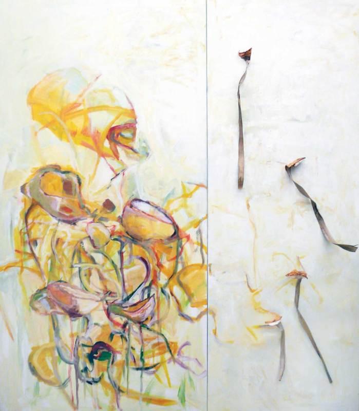 Überfluss und Mangel, Pflanzenteile, Acryl auf Leinwand, 140x160, zweiteilig