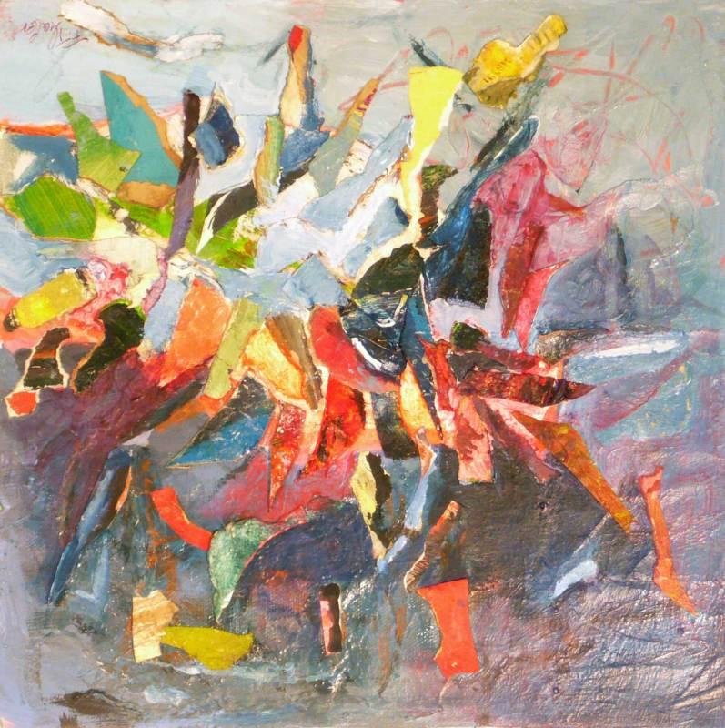 Feuerwerk Collage, Acryl auf Leinwand, 30x30