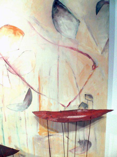 Grazile Leichtigkeit, Tempera auf Leinwand, Eisen, Kupferstangen auf Holz ,110x160