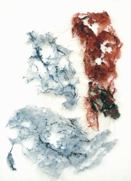 Leicht und Zerbrechlich, Tüll, Acryl auf Leinwand, 55x75