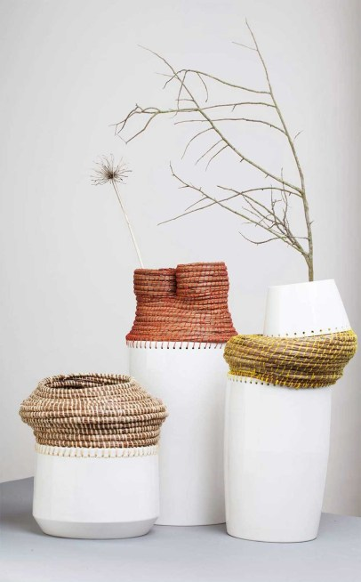 Caruma vessel blending Angolan basket weaving with traditional earthenware by product designer Eneida Tavares