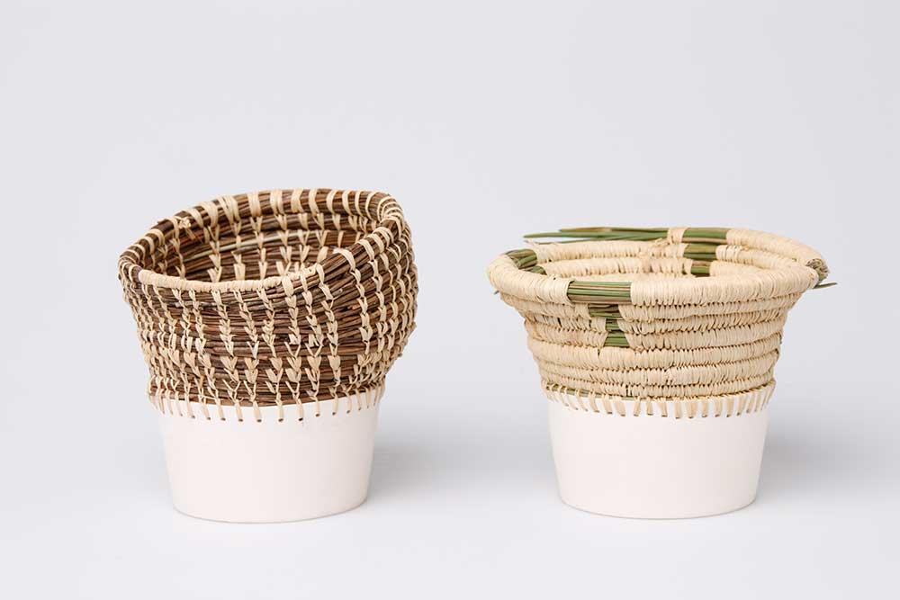 Caruma vessel blending Angolan basket weaving with traditional earthenware by product designer Eneida Tavares