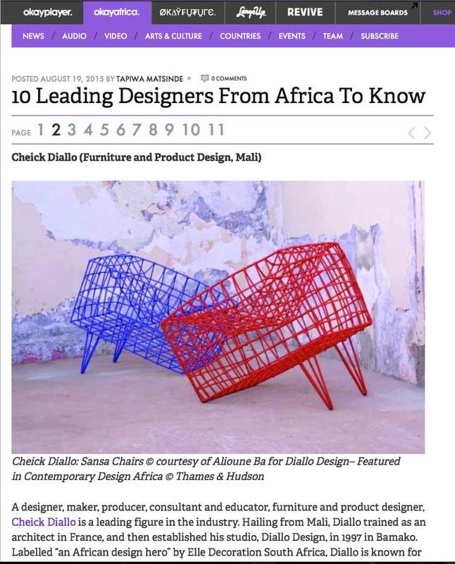 Tapiwa Matsinde OkayAfrica 10 African designers to know showing Cheick Diallo chairs