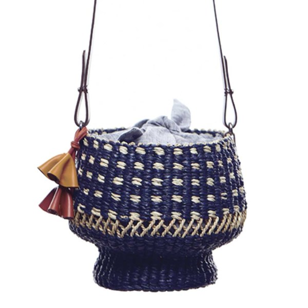 AAKS Baw Pot Dot blue and white bucket bag