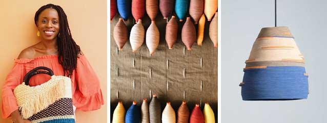 Akosua Afriyie Kumi AAKS Fashion Designer Raffia Handbags and interior light pendants