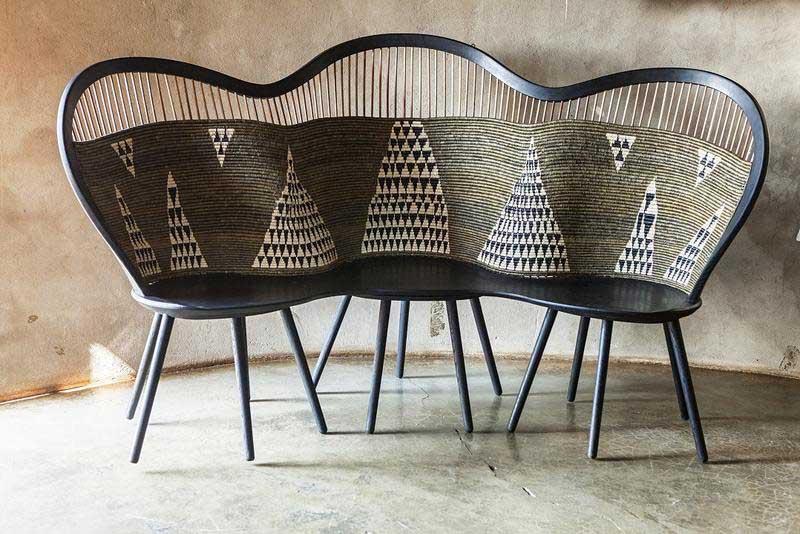 Basket woven Hlabisa Bench