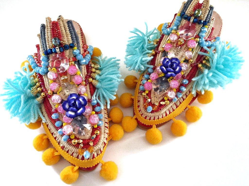 Anita Quansah Hand embellished raffia slippers