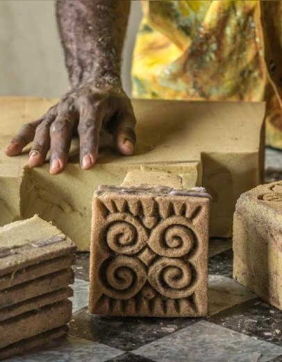 Handmade Batik In Ghana Carved stamp blocks