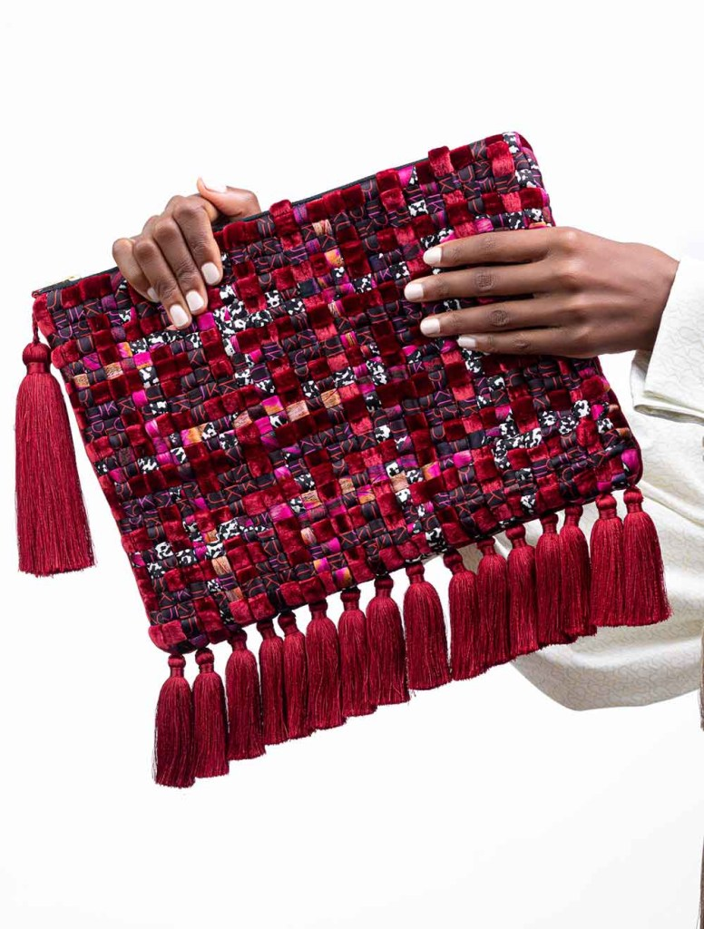 Luxurious Tasselled Silk Masquerade Clutch Collection by Textile Designer Banke Kuku Red