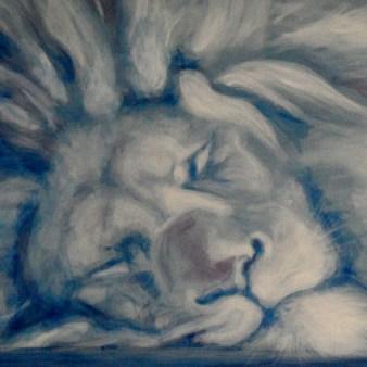 Löwe im Ruhestand, Technik: Acryl - Apuarell auf Leinwand (50 x 50 cm)