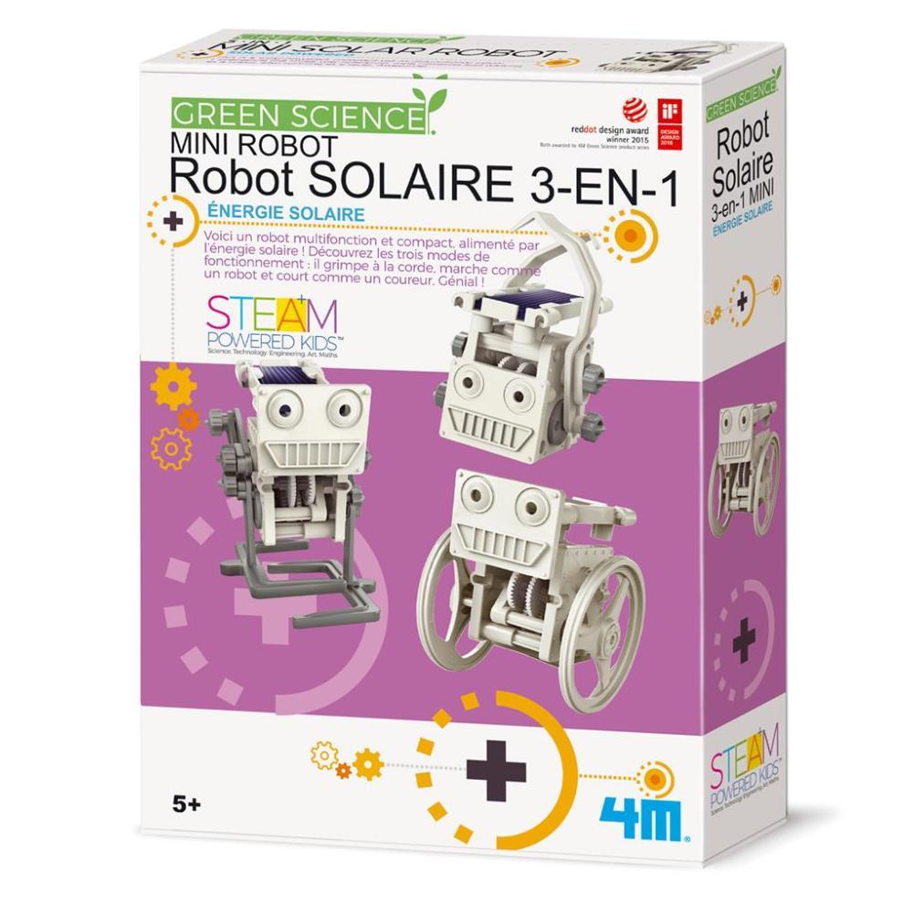 kit scientifique mini robot solaire 3en1 a fabriquer 4m green science